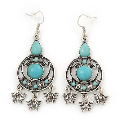 Burn Silver Turquoise Style Butterfly Drop Earrings - 7cm Length