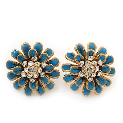 Blue Enamel Diamante Layered Stud Earrings In Gold Plating - 22mm Diameter