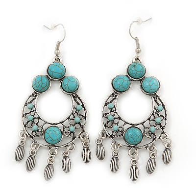Burn Silver Turquoise Style Chandelier Earrings - 8cm Length