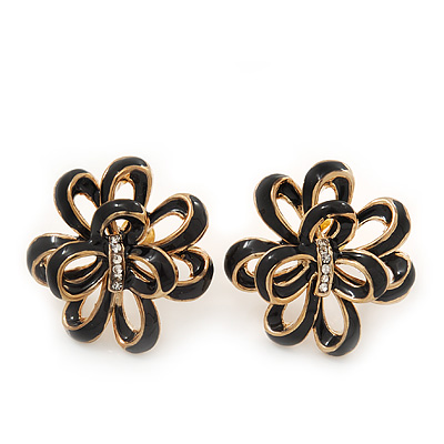 Black Enamel Dimensional Floral Stud Earrings In Gold Plated Metal - 2.5cm in diameter