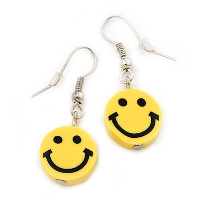 Children's Small Bright Yellow 'Happy Face' Acrylic Drop Earrings In Silver Plating - 3cm Length