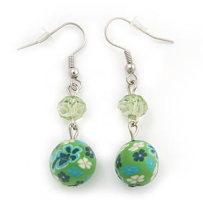 Green Acrylic Drop Earrings In Silver Plating - 4.5cm Length