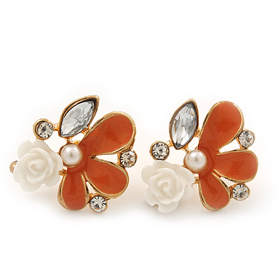 Coral Enamel Diamante 'Rose' Stud Earring In Gold Plating - 2cm Diameter