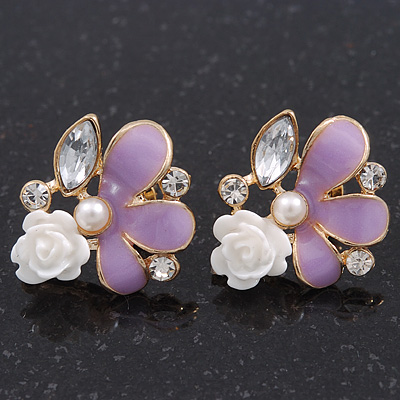Lavender Enamel Diamante 'Rose' Stud Earring In Gold Plating - 2cm Diameter