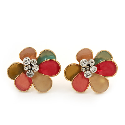 Multicoloured Enamel &#039;Flower&#039; Stud Earrings In Gold Plating - 2cm Diameter