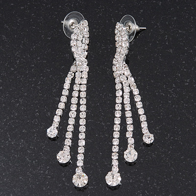 Clear Swarovski Crystal Dangle Earrings In Silver Plating - 6.5cm Length