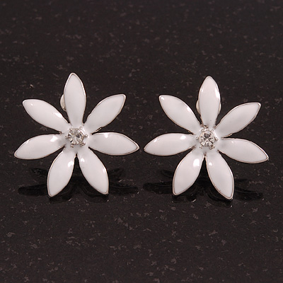 White Enamel Flower Stud Earrings In Silver Plating - 25mm Diameter