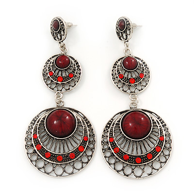 Long Burn Silver Round Filigree Red Acrylic Stone Drop Earrings - 9cm Length