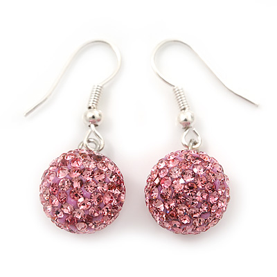Pink Swarovski Crystal Ball Drop Earrings In Silver Plated Finish - 12mm Diameter/ 3cm