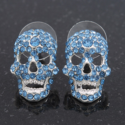 Small Dazzling Blue Crystal Skull Stud Earrings In Silver Plating - 2cm Length