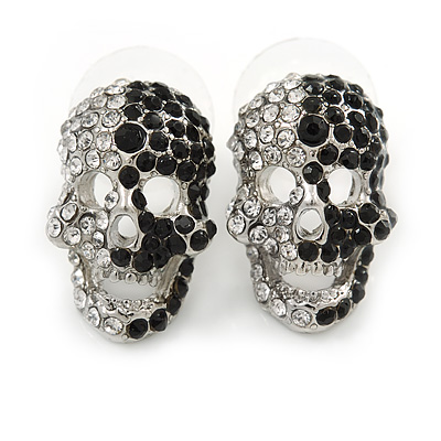 Small Dazzling Black/White Crystal Skull Stud Earrings In Silver Plating - 2cm Length