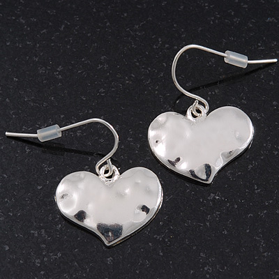 Small Hammered 'Heart' Drop Earrings In Silver Plating - 2cm Length