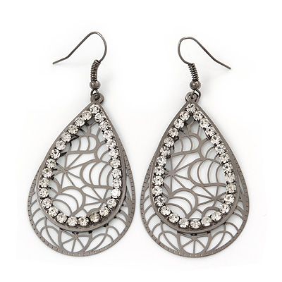 Gun Metal Crystal Filigree Teardrop Earrings - 6.5cm Length