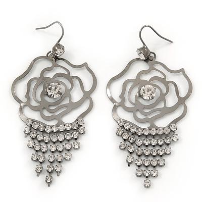 Open Cut Diamante 'Rose' Drop Earrings In Gun Metal Finish - 6.5cm Length - main view