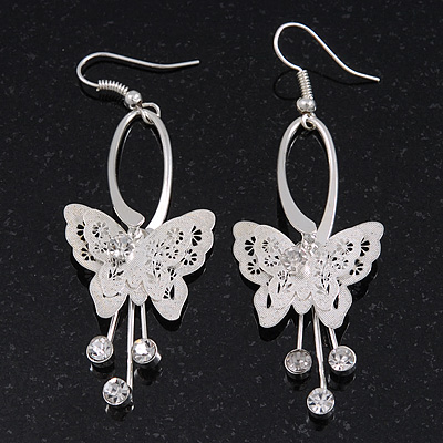 Silver Plated Filigree Diamante 'Butterfly' Drop Earrings - 7cm Length