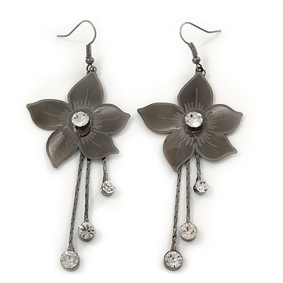 Long Flower With Crystal Dangles Earrings In Gun Metal Finish - 9cm Length