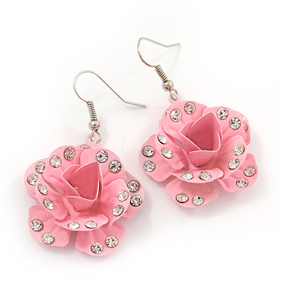 3D Light Pink Diamante 'Rose' Drop Earrings In Silver Plating - 5cm Length