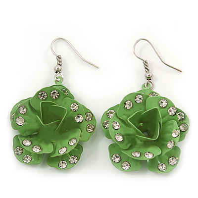 3D Lemon Green Diamante 'Rose' Drop Earrings In Silver Plating - 5cm Length