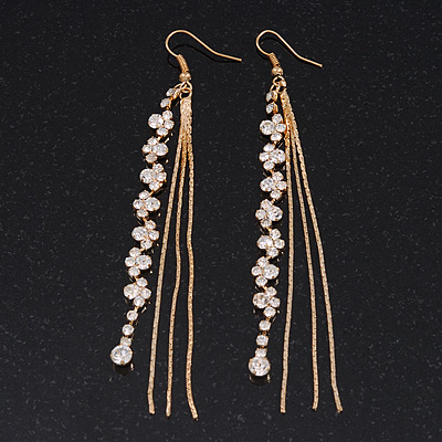 Long Gold Plated Clear Diamante 'Tassel' Drop Earrings - 11cm Length
