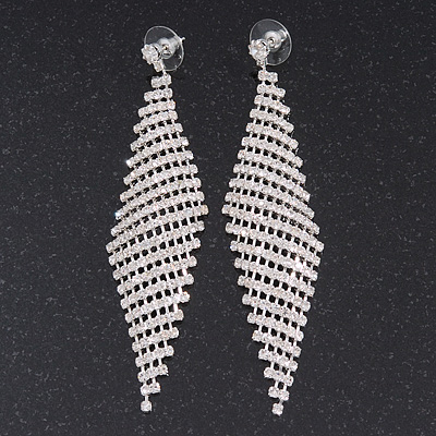 Long Swarovski Crystal Mesh Earrings In Silver Plating - 10cm Length