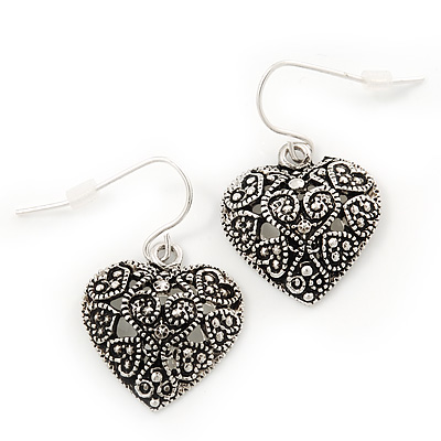 Marcasite Burn Silver 'Heart' Drop Earrings - 3cm Length