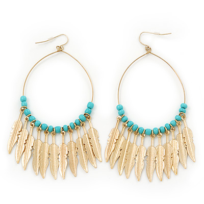 Boheme Feather Charms and Ceramic Turquoise Bead Hoop Earrings