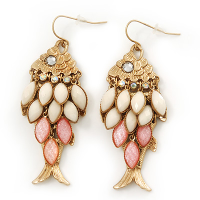 Vintage Gold Plated Acrylic Bead &#039;Fish&#039; Drop Earrings - 6cm Length