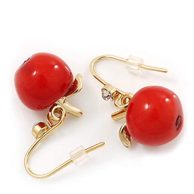 Small Red Resin 'Apple' Drop Earrings In Gold Plating - 2.8cm Length