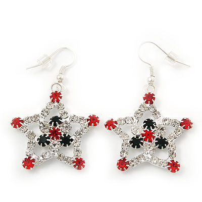 Red/Green/White Crystal &#039;Christmas Star&#039; Drop Earrings In Silver Plating - 5cm Length