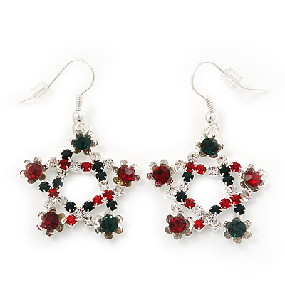 Red/Green/White Crystal &#039;Christmas Star&#039; Drop Earrings In Silver Plating - 4.5cm Length