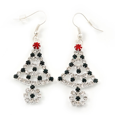 Green/Red/White Crystal &#039;Christmas Tree&#039; Drop Earrings In Silver Plating - 5.5cm Length