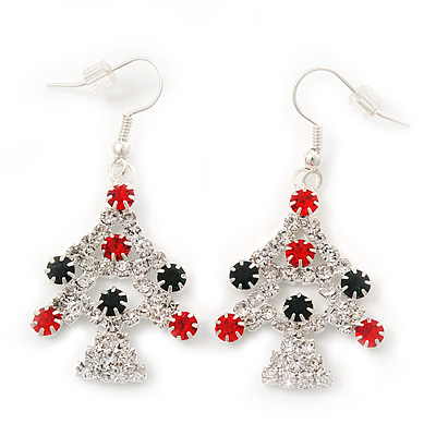 Green/Red/White Crystal &#039;Christmas Tree&#039; Drop Earrings In Silver Plating - 5cm Length
