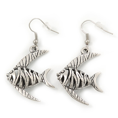 Burn Silver Hammered &#039;Fish&#039; Drop Earrings - 4.5cm Length