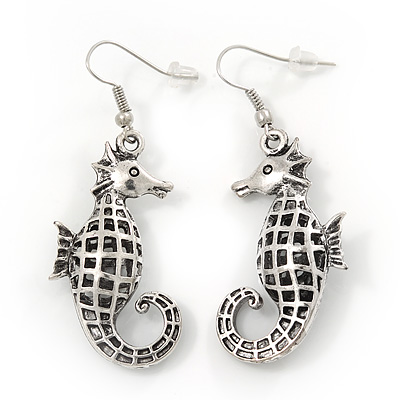Burn Silver Hammered 'Seahorse' Drop Earrings - 5.5cm Length