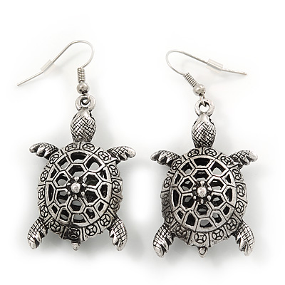 Burn Silver Hammered &#039;Turtle&#039; Drop Earrings - 5.5cm Length
