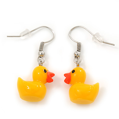 Cute Yellow Plastic &#039;Duck&#039; Drop Earrings In Silver Plating - 3.5cm Length