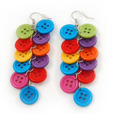Long Multicoloured 'Button' Acrylic Drop Earrings In Silver Plating - 9cm Length