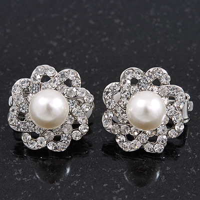 Classic Diamante Simulated Pearl Clip On Earrings In Silver Plating - 17mm Diameter
