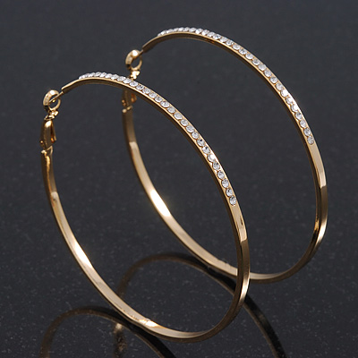Large Clear Swarovski Crystal Hoop Earrings In Gold Plating - 7cm Diameter