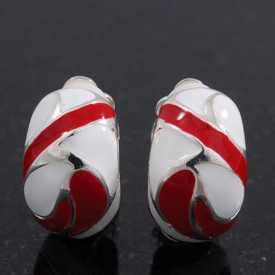 Red/White C-Shape Geometric Enamel Clip-on Earrings In Rhodium Plating - 20mm
