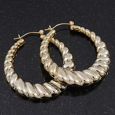 Gold Tone Lightweight Puffed Hoop Earrings - 4.5cm Diameter