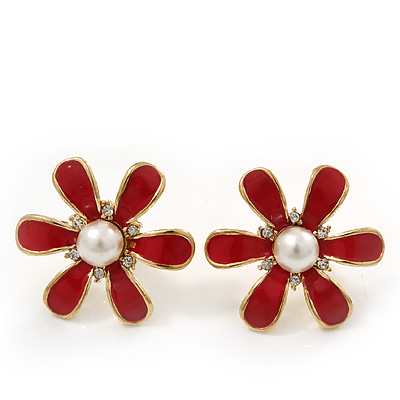 Red Enamel Pearl Flower Stud Earrings In Gold Plating - 2cm Diameter