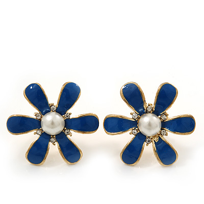 Blue Enamel Pearl Flower Stud Earrings In Gold Plating - 2cm Diameter