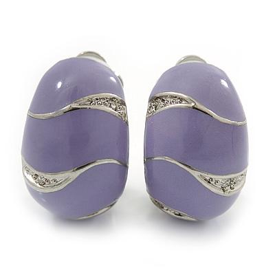 C-Shape Lavender Enamel Diamante Clip-On Earrings In Rhodium Plating - 18mm Length