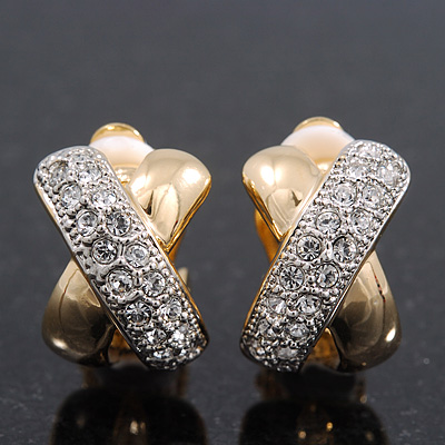 Gold/Silver Diamante 'X' Shaped Clip On Earrings - 17mm Length