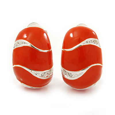 C-Shape Orange Enamel Diamante Clip-On Earrings In Rhodium Plating - 18mm Length