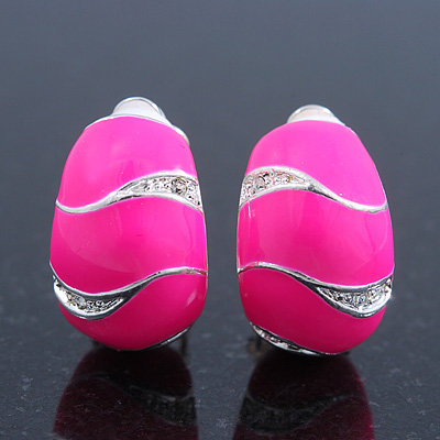 Small C-Shape Neon Pink Enamel Diamante Clip-On Earrings In Rhodium Plating - 18mm Length
