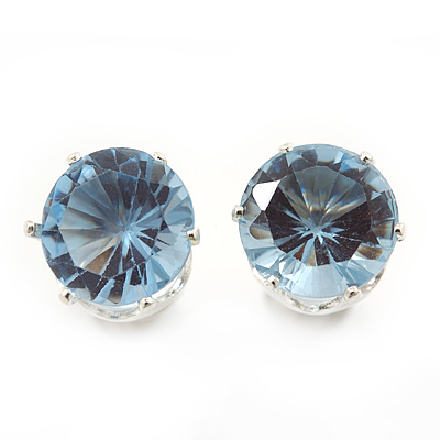 Classic Pale Blue Crystal Round Cut Stud Earrings In Silver Plating - 8mm Diameter