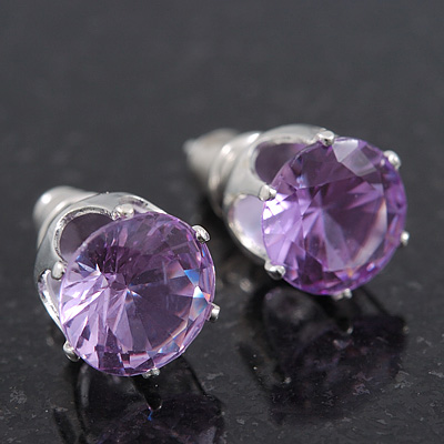Classic Amethyst Crystal Round Cut Stud Earrings In Silver Plating - 8mm Diameter