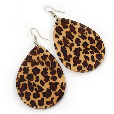 Large Resin 'Leopard Print' Teardrop Earrings In Silver Plating - 7cm Length